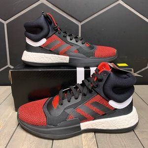 New Adidas Marquee Boost High Black Red Shoes